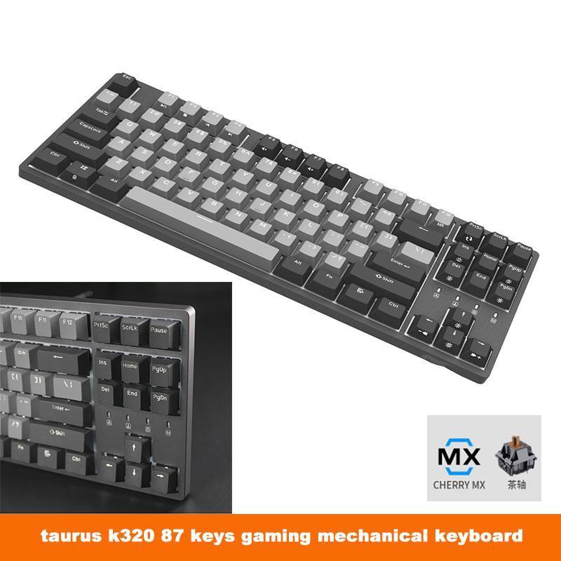 K320 87 Ключи Gaming Механическая клавиатура Cherry Mx Коричневый Синий Красный Тип переключателя C USB PBT Колпачки Проводная Подсветка клавиатуры NKRO