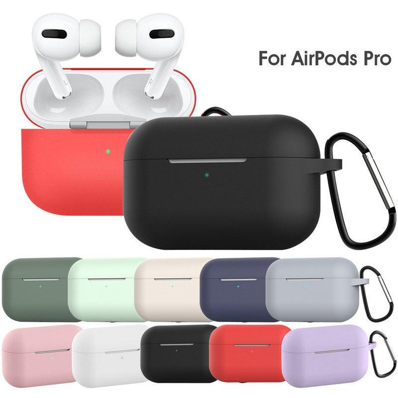 DHL récent liquide épais Housse en silicone étanche pour Apple AirPod Pro avec boucle en métal 12 couleurs en option Earpbuds cas