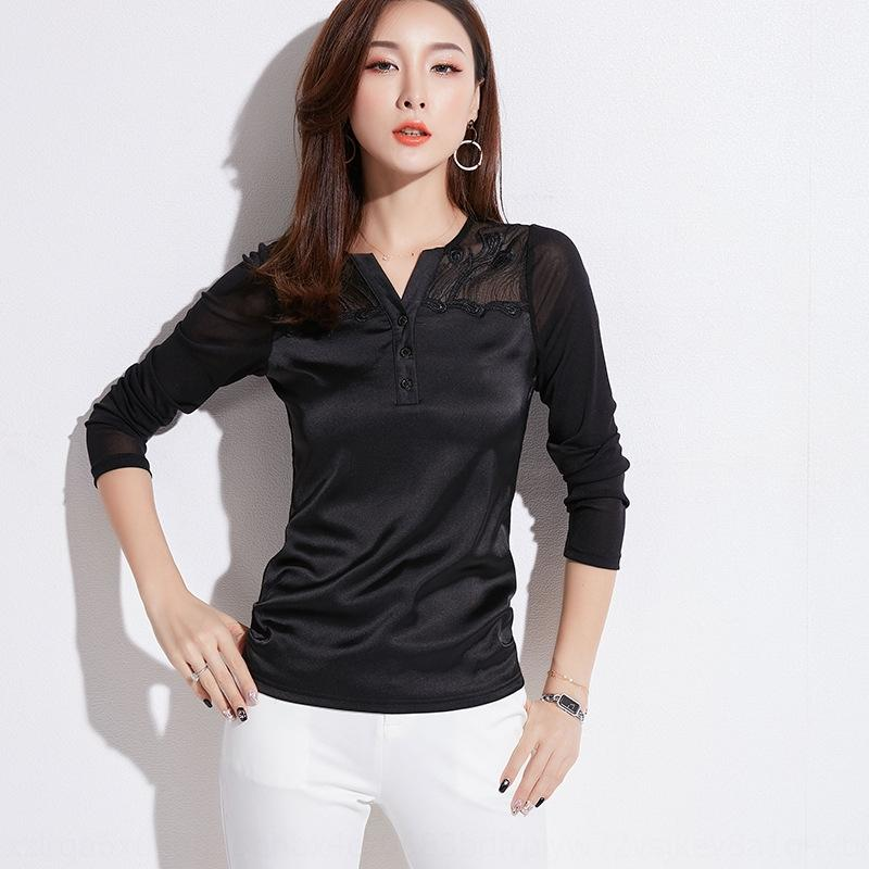 WEOH4 Korean women's new spring 2019 Top shirtT-shirt shirt long sleeve EzdLt mesh pleated women's top slim blouse T-shirt yarn