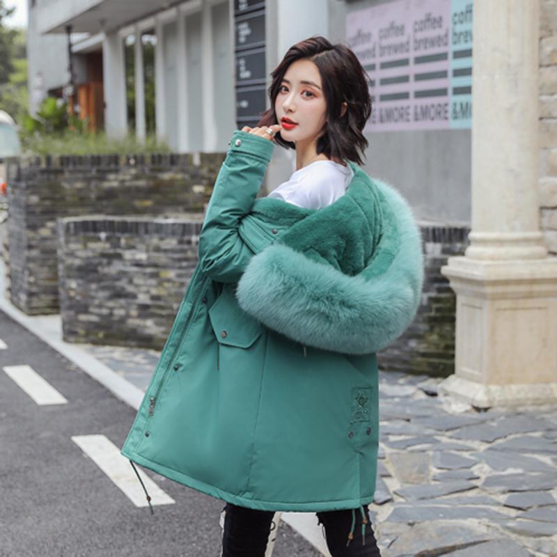 Pamuk Liner Sıcak Coat Ve Su geçirmez Ceket Kadınlar Plus Size İnce Uzun Ceket Kadın Kış Big Kürk Kapşonlu Parka Mujer Coats 201106