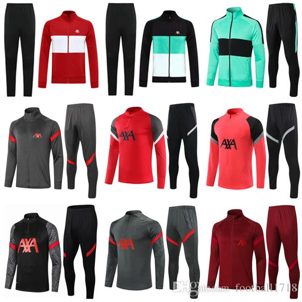 20 21 Crianças Homens Futebol Tracksuit Survectement De Football Training Suit Sportswear 2020 2021 Longo Full Zipper Training Jacket TRACKSUITS Set
