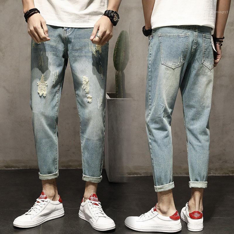 Los pantalones vaqueros de nueve puntos del verano de los hombres sueltos sueltos pantalones de harén del mendigo delgado delgado de nueve puntos1
