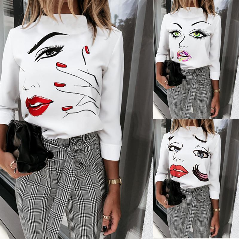 Fashion Autumn Women Tops Casual Long Sleeve 3D Face Pattern O Neck Slim Women Tshirt Women Designer Clothes 2020