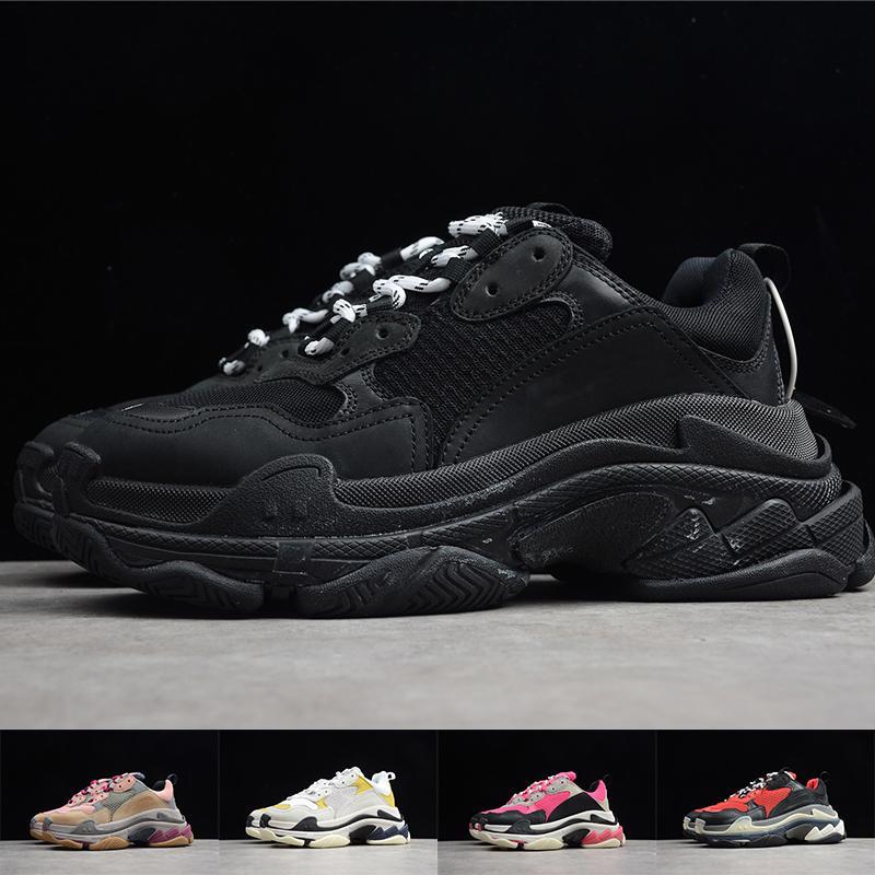 Mens Paris Triple S Тренеров Женщины 17FW Кроссовки Старые Папа Обувь Платформа Черный Белый Повседневная Женская Дизайнерская Обувь