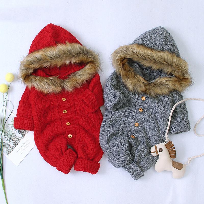 Bebek Romper Kış Triko Bebek Boys Giyim Sonbahar Yenidoğan Giyim Örme Kapşonlu İçin Bebek Kız Giyim Jumpsuit 0 3 6 9 Ay 1024