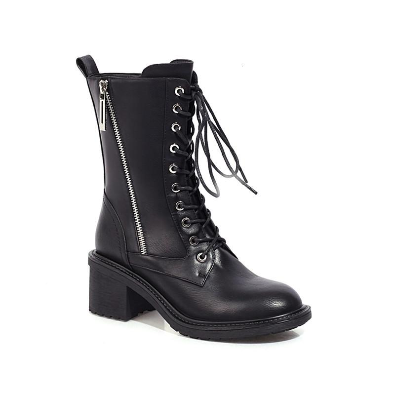 2021 NUEVOS Tacones de los Toe de las Mujeres Calientes Encaje para las señoras Zapatos de invierno Botas Sólidas Gris E0YA