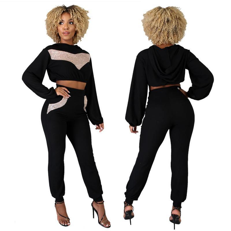 Paillettes Patchwork Femmes Mode manches longues O Neck Deux Pantalons Piece Set Nouveau Femmes Vêtements de créateurs