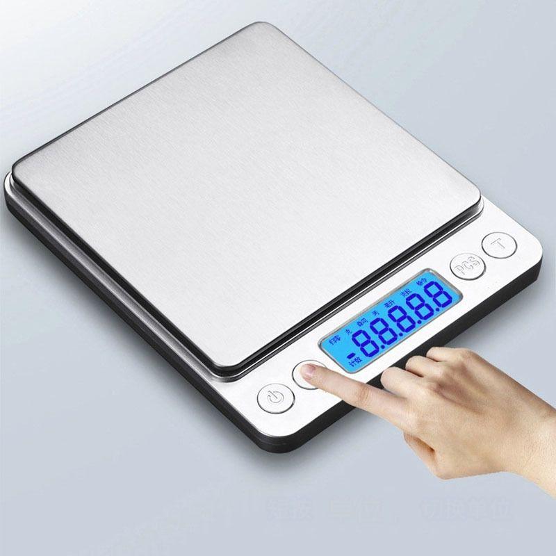 Портативные цифровые масштабы ювелирные изделия кухня еда диета почта комната офис баланс весы 500 / 1000/2000 / 3000G кухонные аксессуары Y200328