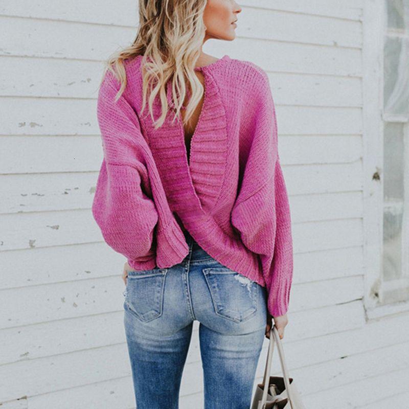 Neue Pullover für Frauen gestrickt Sexy Backless Cross Pearls Pullover Jumper lose Kleidung weibliche feste Frauenpullover 2020