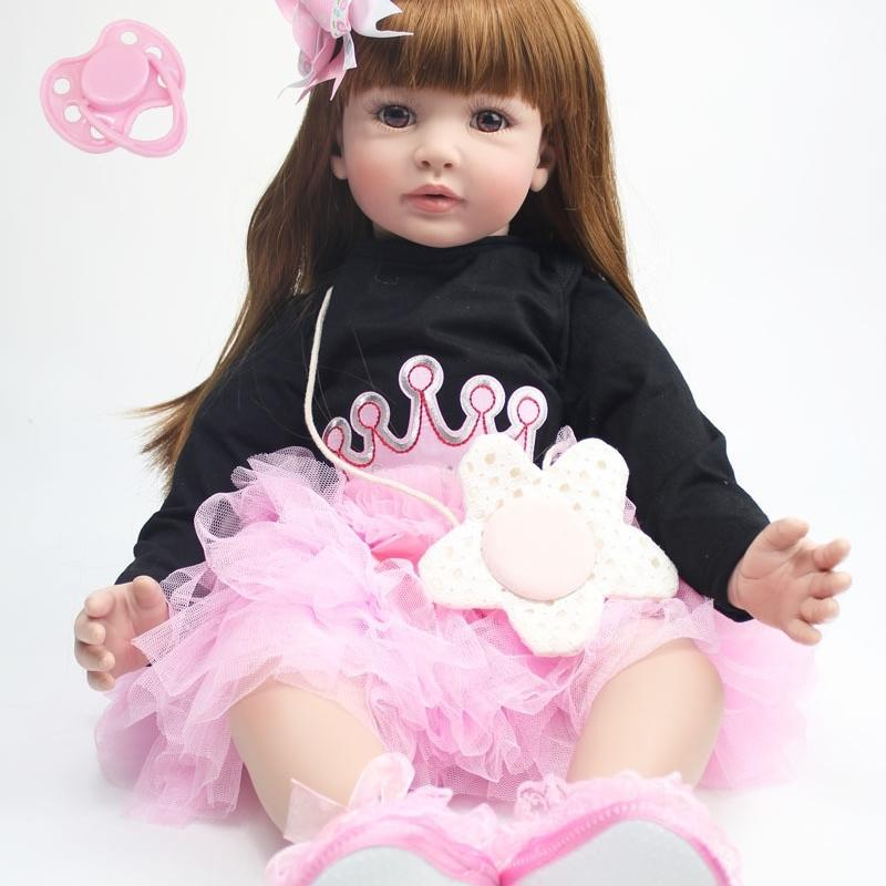 "60 cm Reborn Toddler Doll Ploth Body 24 ""Vinyl Artips Princess Baby Dolls Girls Regalo di compleanno Bambino Play House Toy T200712"