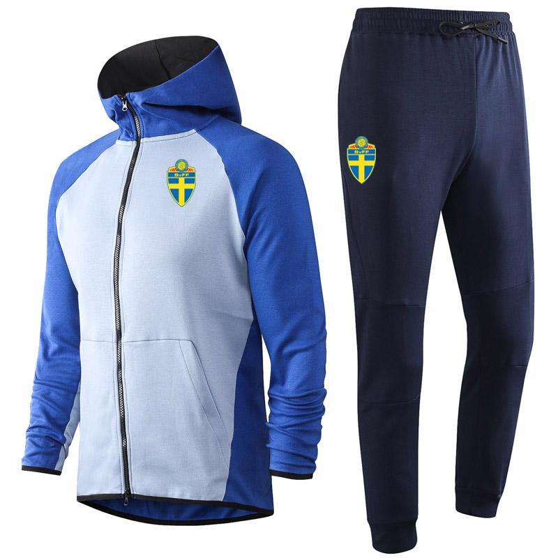 2020 2021 İsveç yetişkin Futbol Eğitim Tracksuits kitleri Kapşonlu futbol Eğitim Suit Survetement Maillots De Ayak MenTracksuits ayarlar