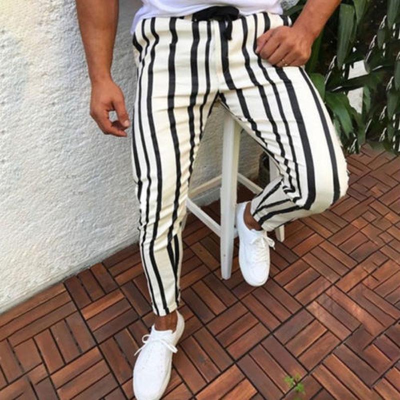 Männer Casual Sport Hosen Slim Fit Hose Laufstreifen Sweatpants Männer Schwarze Mode Elastische Taille Hosen Hip Hop Hosen