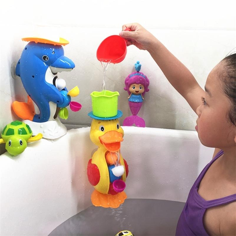 Kids Shower Bath Toys Cute Duck Waterwheel Dolphin Toys Baby Faucet Bathing Water Spraying Tool Wheel Type Dabbling Toy No box LJ201019