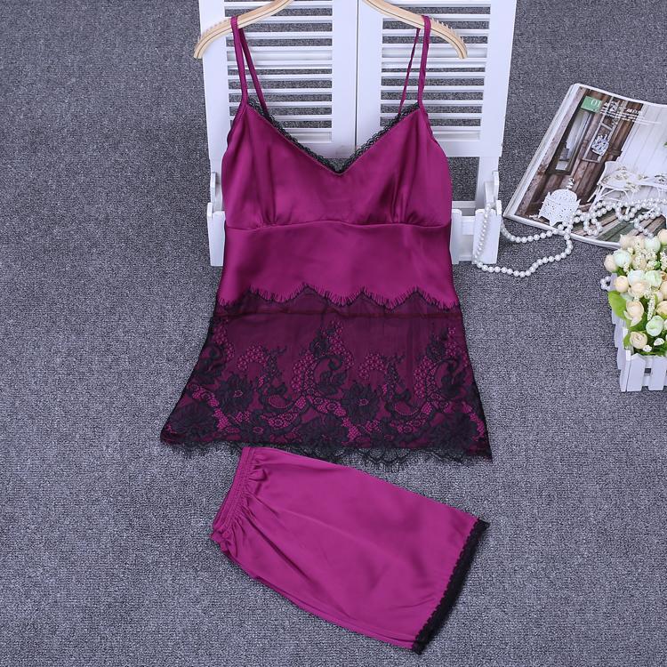 Mulheres Sexy de cetim de seda do pijama Lace Pijama V-neck Pajama Moda Pijamas Set mangas roupa interior para o verão