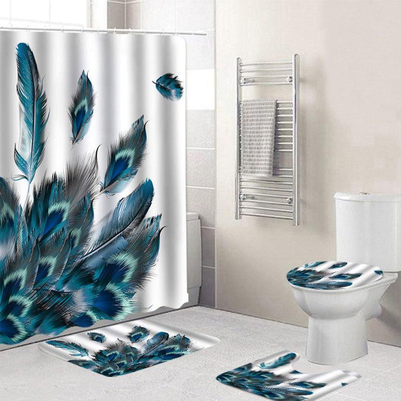 4 PCS Payscock Plumes de paon étanche Salle de bain Rideau de douche Tapis de toilette tapis anti-glissement tapis tapis de salle de bain avec 12 crochets Q0121