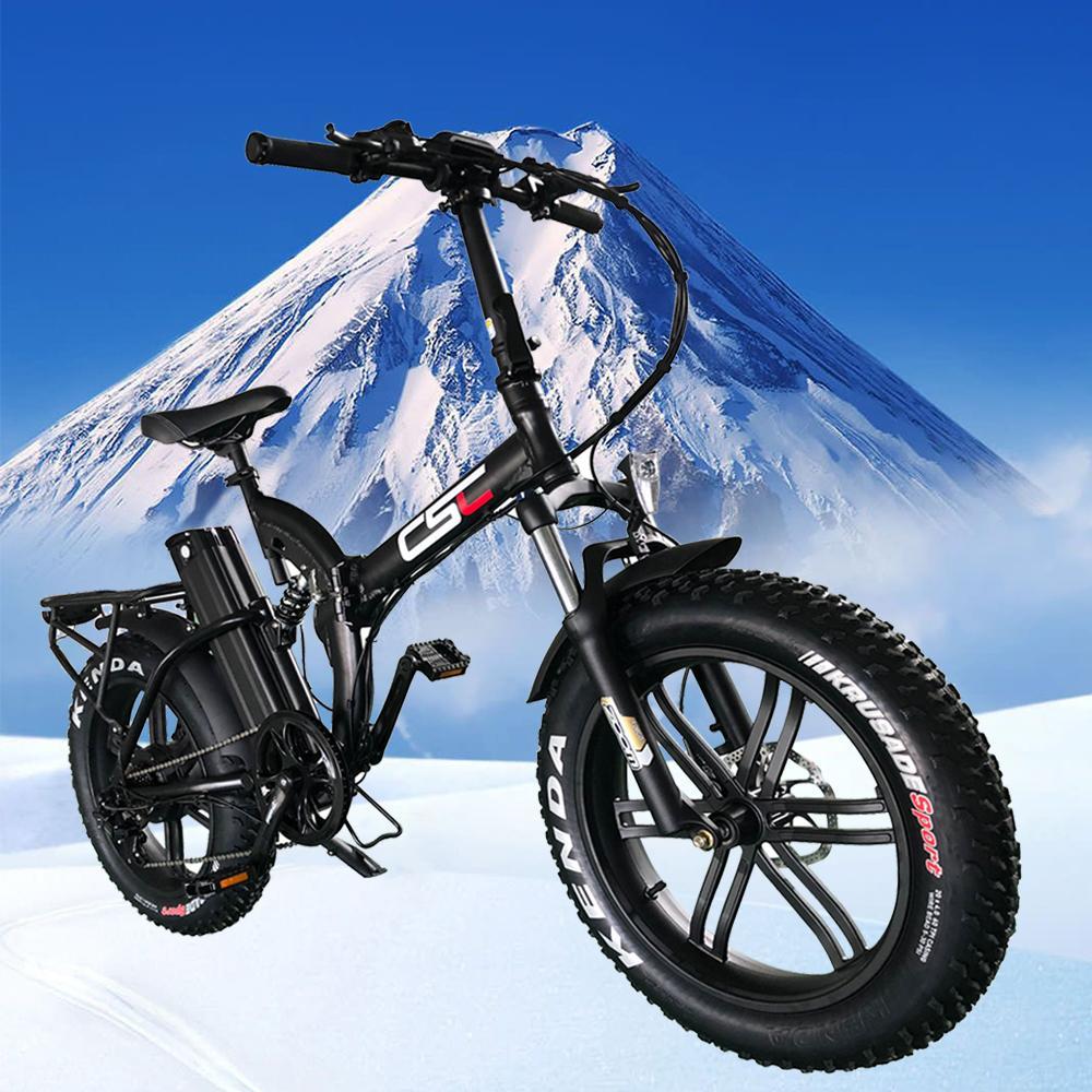 Дизайнер CSC FAT Tire 20 4.0 48V 500W Электрический велосипед снега гора складной E-Bike 48V 15,6AH литиевая батарея 2А зарядное устройство Ebike