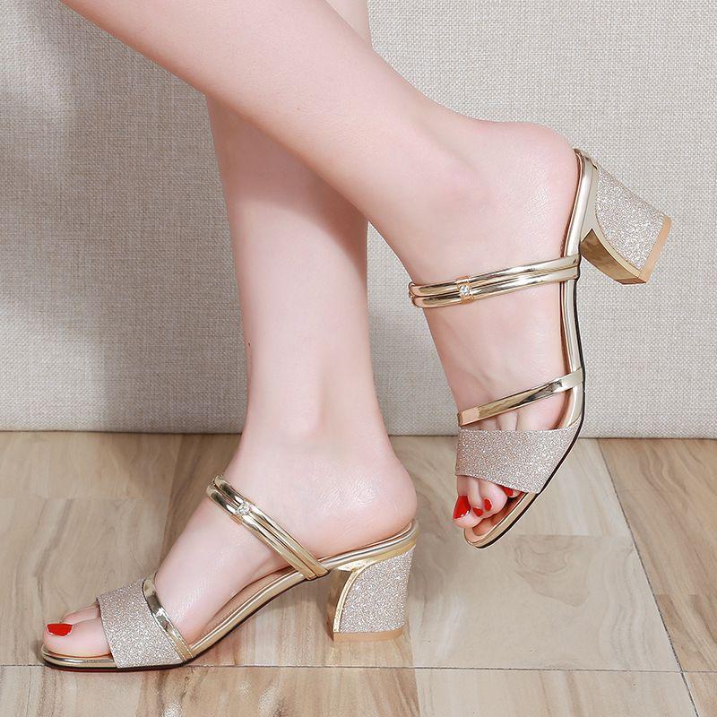 2020 летние женские туфли сексуальные дамы высокие каблуки женщина квадратные каблуки сандалии летние женские туфли женщин сандалии толстый каблук 6см A770 Y200702