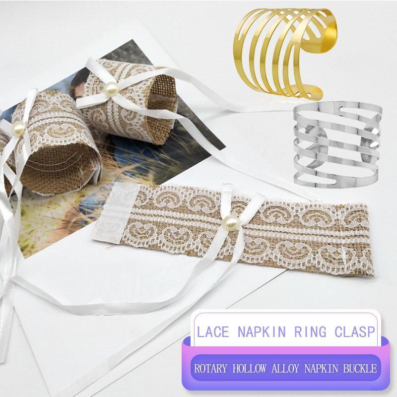 4PCS dentelle Serviette boucle de mariage de mariage de table et chaises Boucle Jute Napkin Ring Banquet Party Decoration