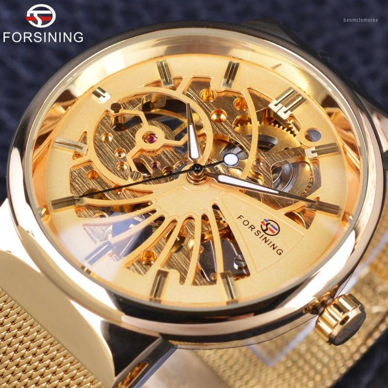 Forsining Golden Fashion Series Simple Skeleton Design Stainless Steel Open Work Mens Watches Top Brand1
