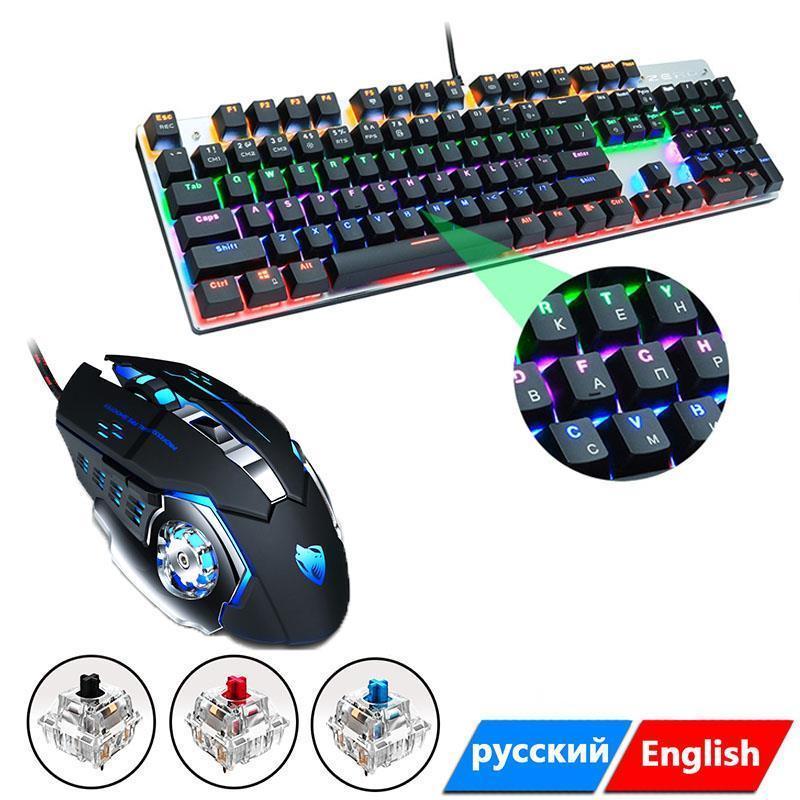 Claviers Jeux clavier et souris câblés avec rétroéclairage Mécanique Mécanique 104 Keys Set pour ordinateur portable PC