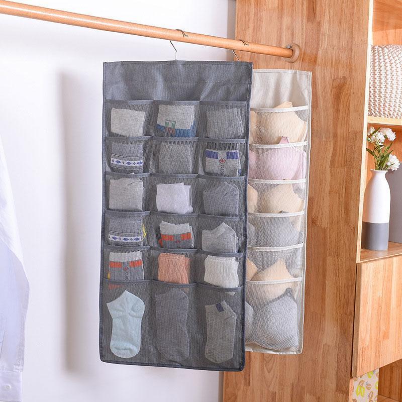 Sac Suspendu rangement pliable pour Sous-vêtements Chaussettes Ties Armoire murale porte arrière Hanging chaussures Organisateur de stockage Organisateur Mêle