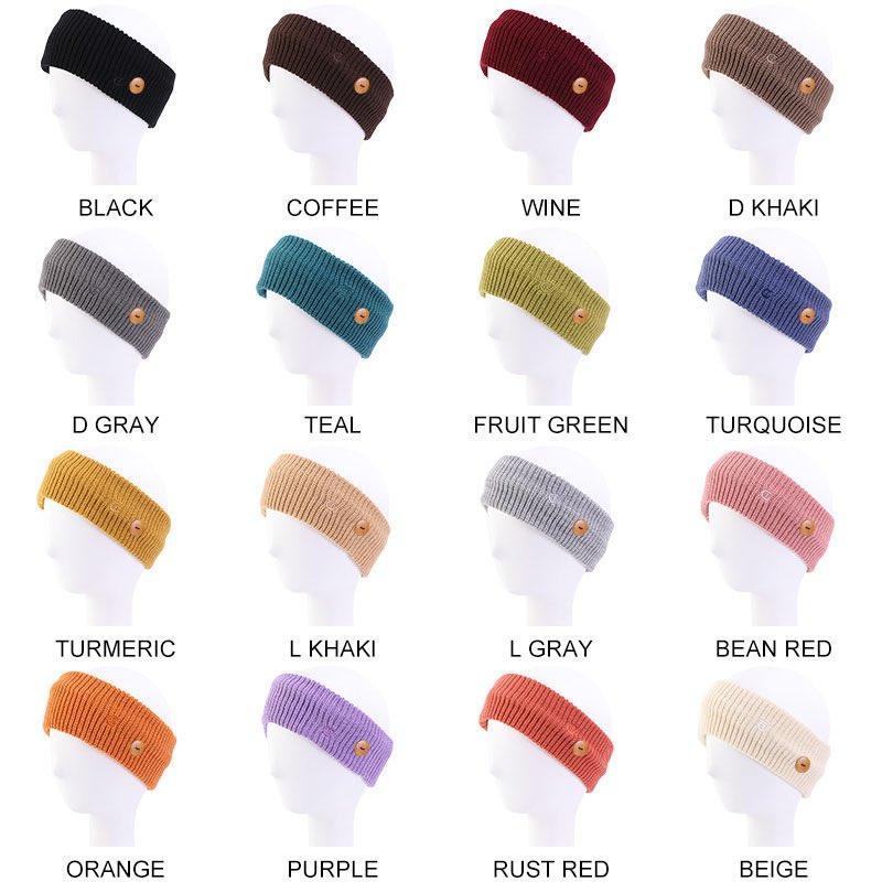 Winter stricken stirnband mask button woolen haarband gestrickte sport und fitness warm 16 farben großhandel