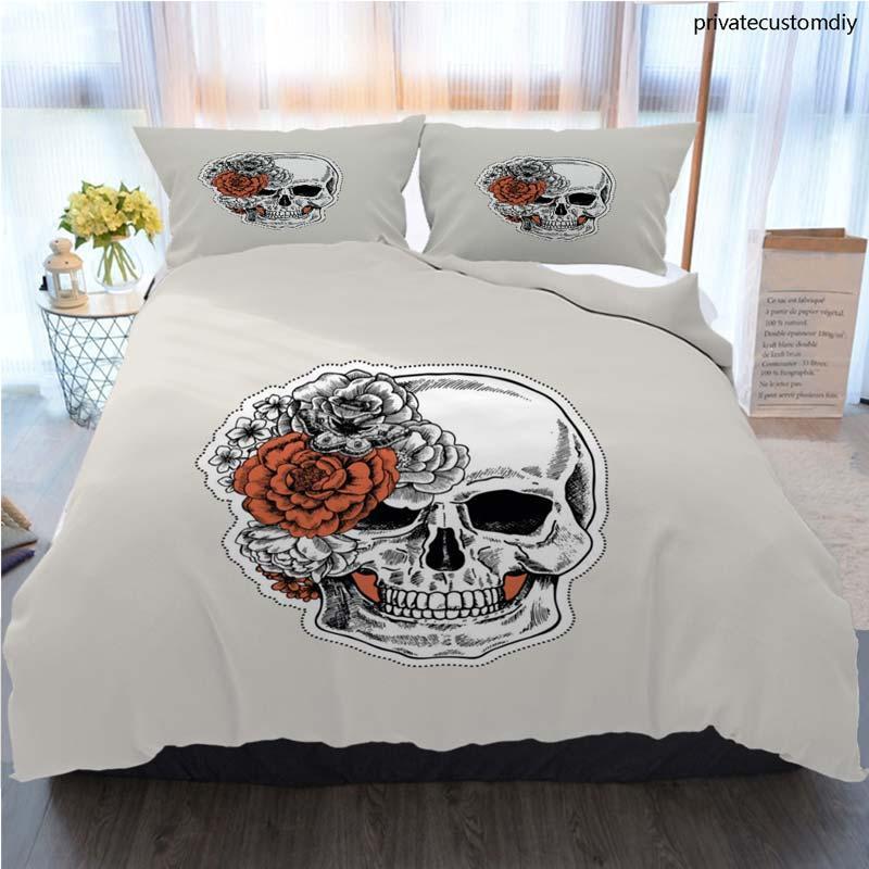 3pcs Bedding Cotton Set Super King Duvet Cover Set Floral Human Skull Tattoo Anatomy Vintage Illustration Bed Cover With Pillowcase