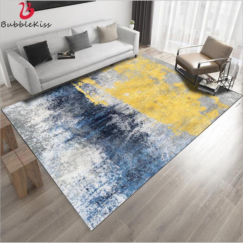 Bocadillo beso moderno alfombra abstracto azul amarillo gris óleo pintado alfombra para sala de estar dormitorio dormitorio alfombra para dormitorio