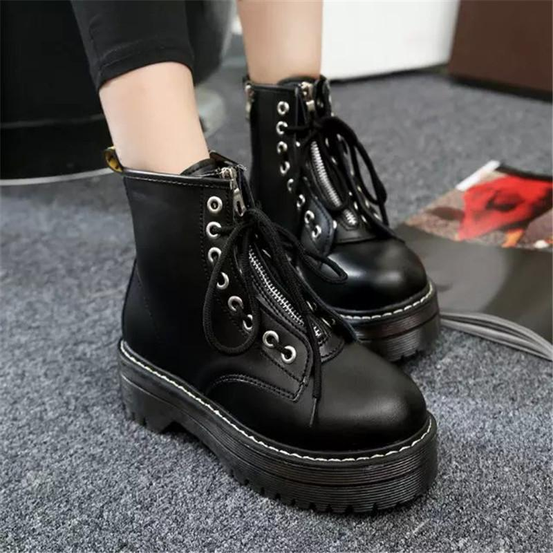 COOTELILI Fashion Zipper Flat Shoes Woman High Heel Platform PU Leather Boots Lace up Women Shoes Ankle Boots Girls 35-40 T200106