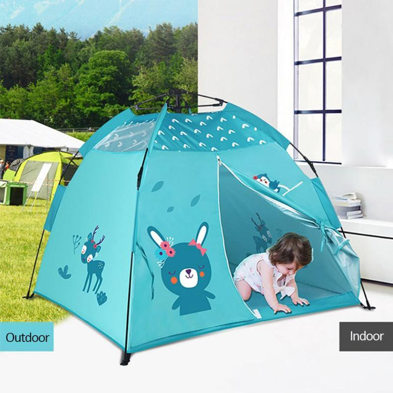 Portable Children Tent Playhouse Foldable Wigwam Camping Tent Indoor Outdoor Beach Kids Pink Princess Castle Room Decor