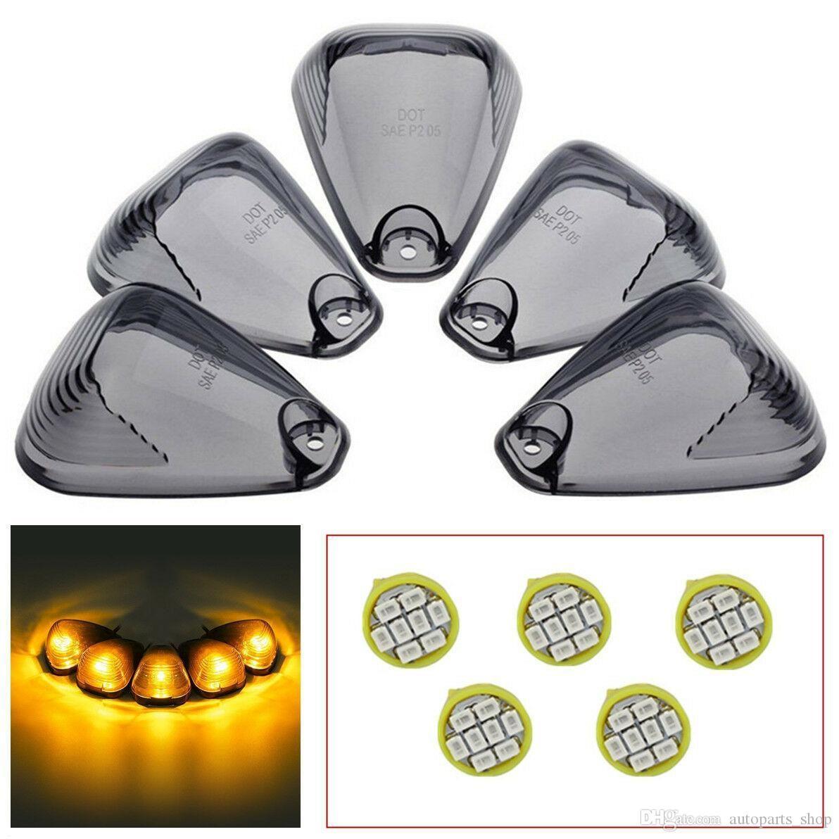 5X Roof Top Lamp Smoke Cab Lens Light + 5X Free LED lâmpadas para Ford F250 F350 F450