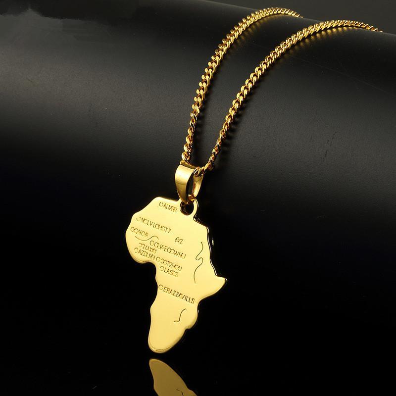 Hombres de moda Gold Silver Africa Mapa Colgante Collares Joyería de moda para 18k Oro Plateado 60 cm Cadena Larga Micro Hip Hop Rock Mens