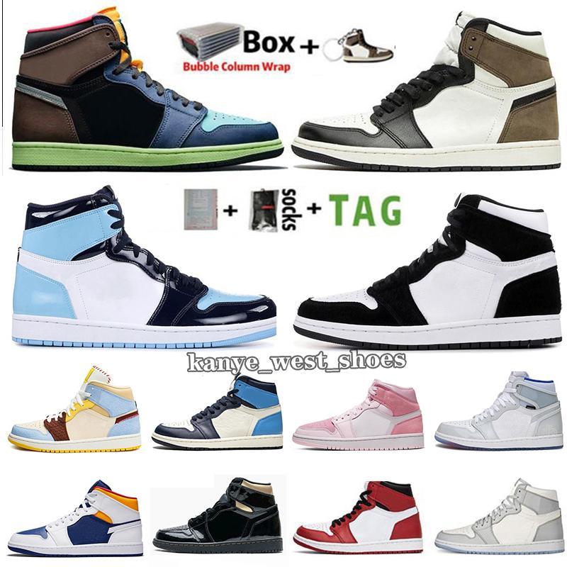 2020 الجديد Jumpman 1 1S الرجال أحذية كرة السلة حجر السج UNC طوكيو الحيوية هاك منتصف الرقمية الظلام الوردي موكا شيكاغو تويست الأعلى الرياضة المدربين حذاء رياضة