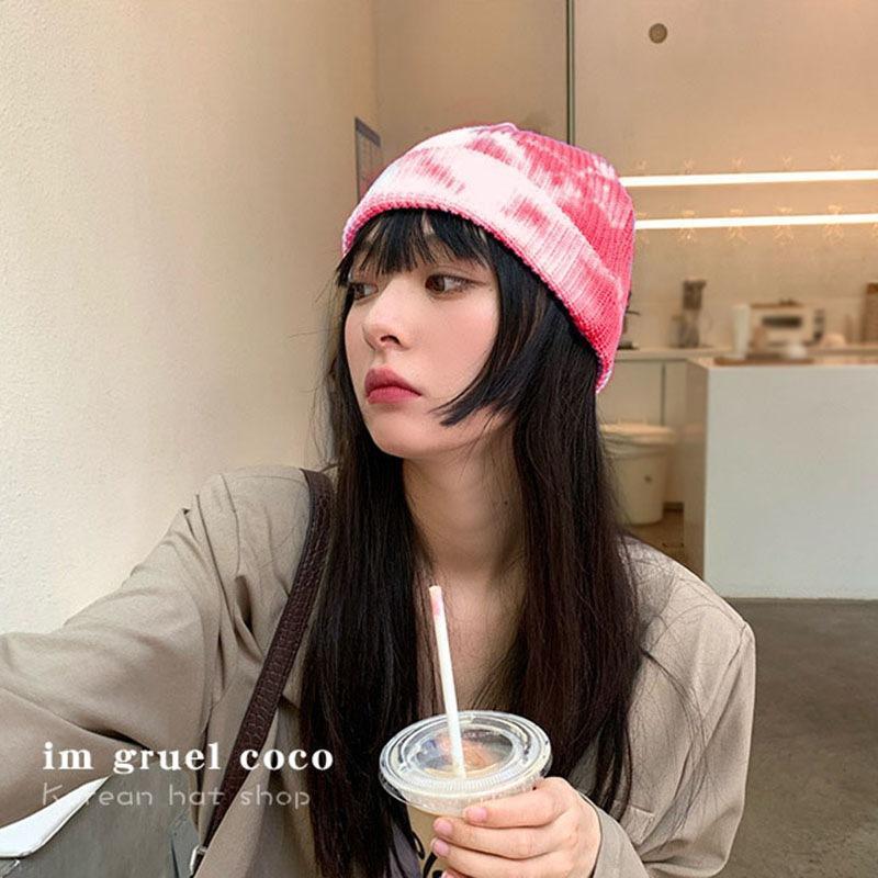 Automne Hiver Tie-Dye Imprimer Tricoté Baotou Cap pour les femmes adultes de style japonais Couple mince Chapeau de laine