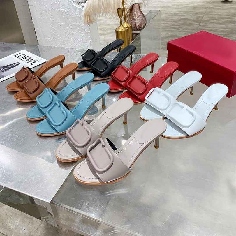 2021 Mujer zapatillas diseñador letra 6.5 cm tacón alto sandalia mujer mostrar diseñadores zapatillas zapatillas de moda tacones de tacón de altibers con caja