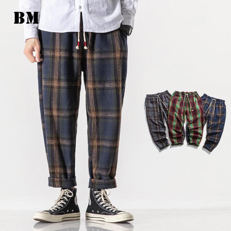 Мужские брюки Японская уличная одежда шерстяной толстый плед повседневная Harajuku плюс размер прямые брюки мода пара одежда мужская одежда1