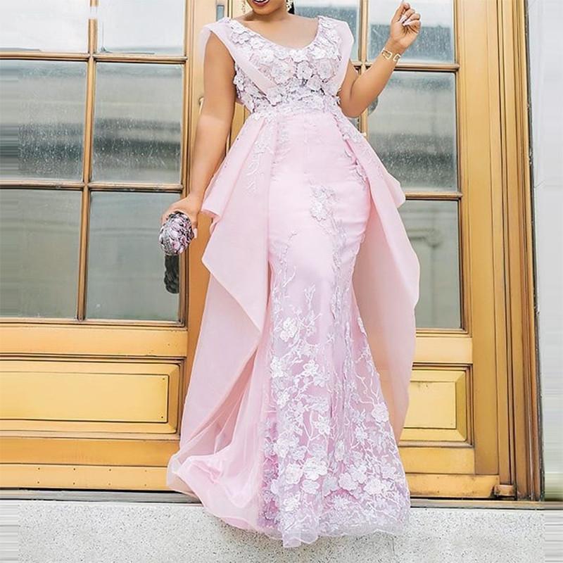 Blush Vestidos de noche formales de la sirena rosada con apliques de encaje de gran descamada profunda Vestido de fiesta de fiesta largo sin mangas