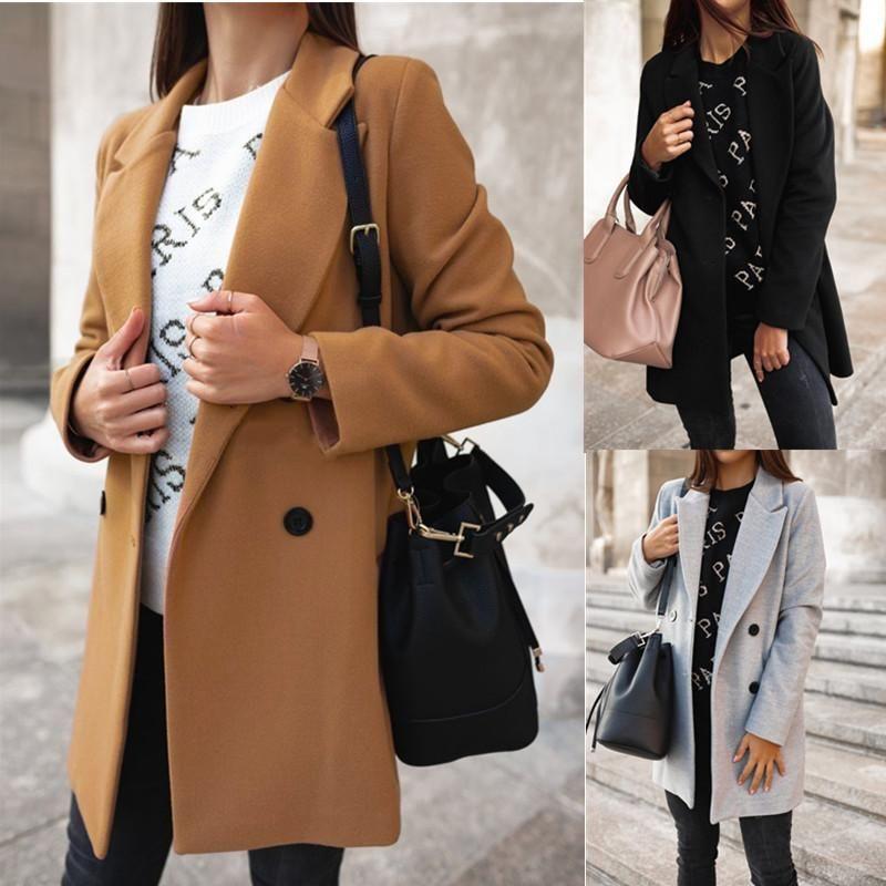 2020 Sonbahar Kış Katı Renk kruvaze ceket Kadınlar Yaka Yün Coat Kadın Siyah Haki Gri