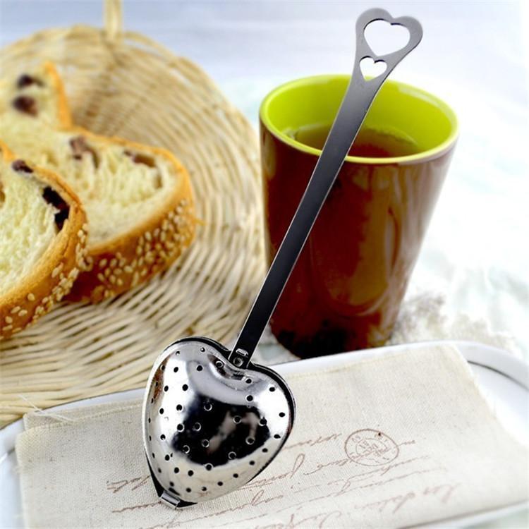 """ملعقة """"وقت الشاي"""" على شكل قلب القلب الشاي المساعد على التحلل الفولاذ المقاوم للشاي الأعشاب المساعد على التحلل ملعقة مصفاة تصفية الشاي بالجملة HWF1610"""