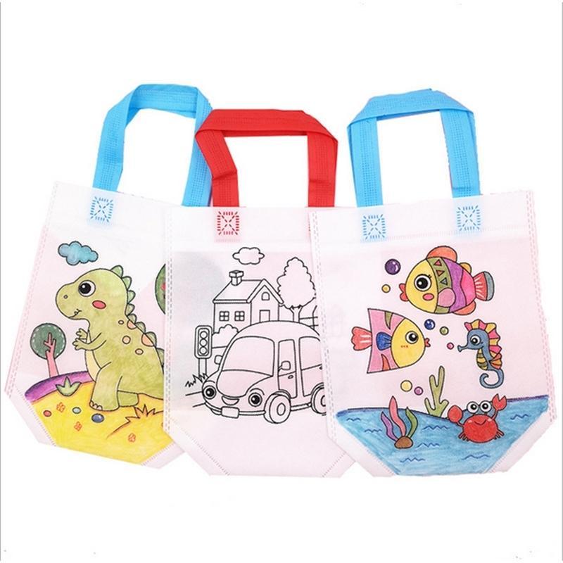 BAMBINI GRAFFITI BAGA DA TE fai da te fatti a mano colorazione pittura puzzle bambino arti arti artigianato colore rifornimento di disegno giocattolo asilo nido di borse non tessute G20305