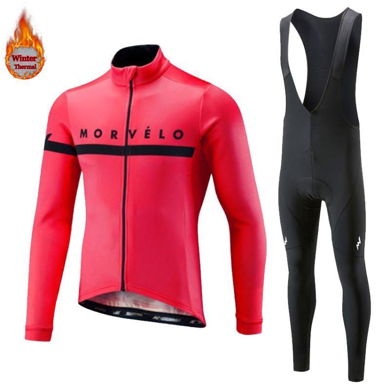 2020 جديد Morvelo شتاء الصوف الحراري الرجال دراجات كم طويل ركوب الدراجات جيرسي الملابس مجموعة