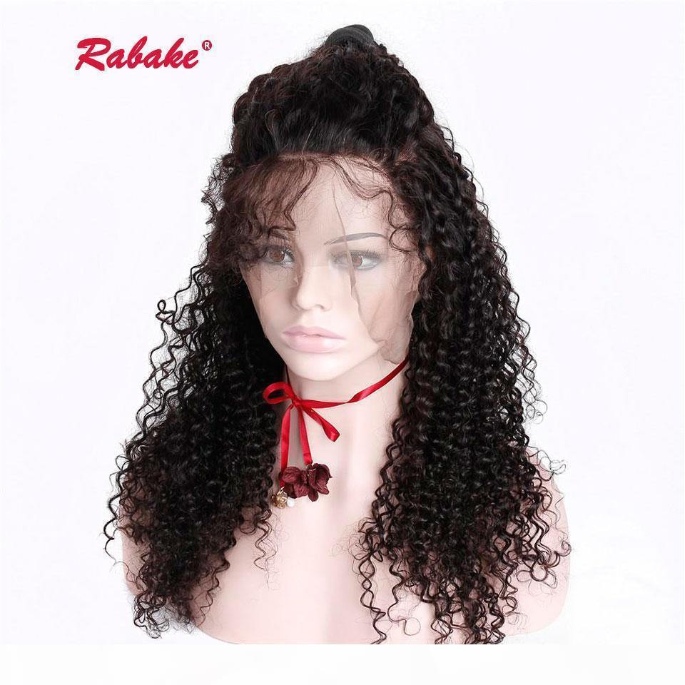 Brezilyalı Tam Dantel İnsan Saç Peruk Afro Kinky Kıvırcık Rabake 10-24 inç Full Dantel Peruk Bebek Saç etrafında Siyah Kadınlar için