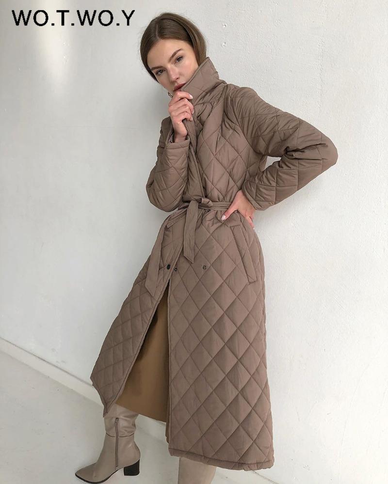 Wotwoy Argyle con cinturón largo parkas mujeres algodón acolchado acolchado espeso chaqueta de invierno femenino sólido casual sobredimensionado abrigo abrigo con bolsillo 201110