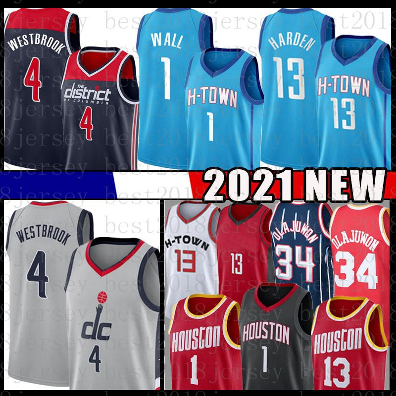 John 1 Wall Russell 4 Westbrook كرة السلة جيرسي 2021 رجل جديد 13 Hakeem 34 Olajuwon Harden Jerseys Mesh Blue Black Red