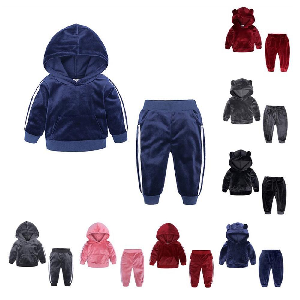 Бархатные толстовки + брюки 2 шт набор для малышей мальчиков Одежды для девочек 2020 малышей CoSTUME дети нарядов детской одежды костюма 1-7Y