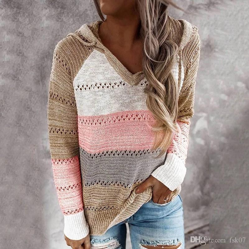 Oeak свитер Женщины Цвет Лоскутная свитер Hollow из V-образным вырезом Пуловеры Женские Womens с капюшоном вязать Толстовки