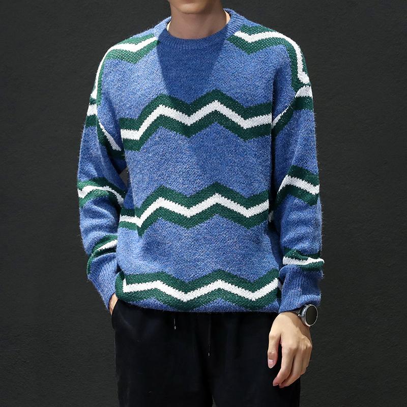 Brand Designer Men 2020 Fashion Wavy Stripes Design Maglione Pullover Maglione maschile O-Collo Maglia da uomo Maglioni M-5XL M6036