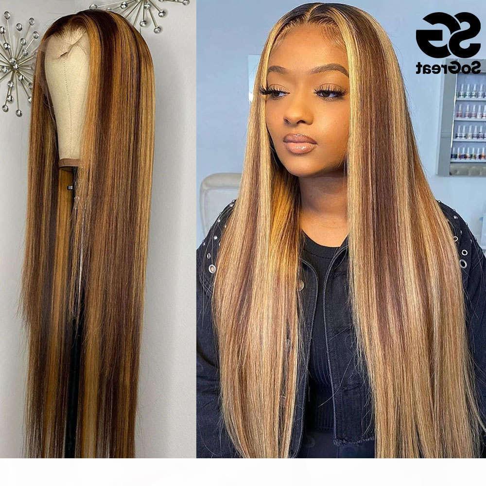 Resalte el cabello humano ombre ombre recta 28 peluca de 30 pulgadas brasileña 13x1 HD Full Frontal Honey Blonde Live Wigs