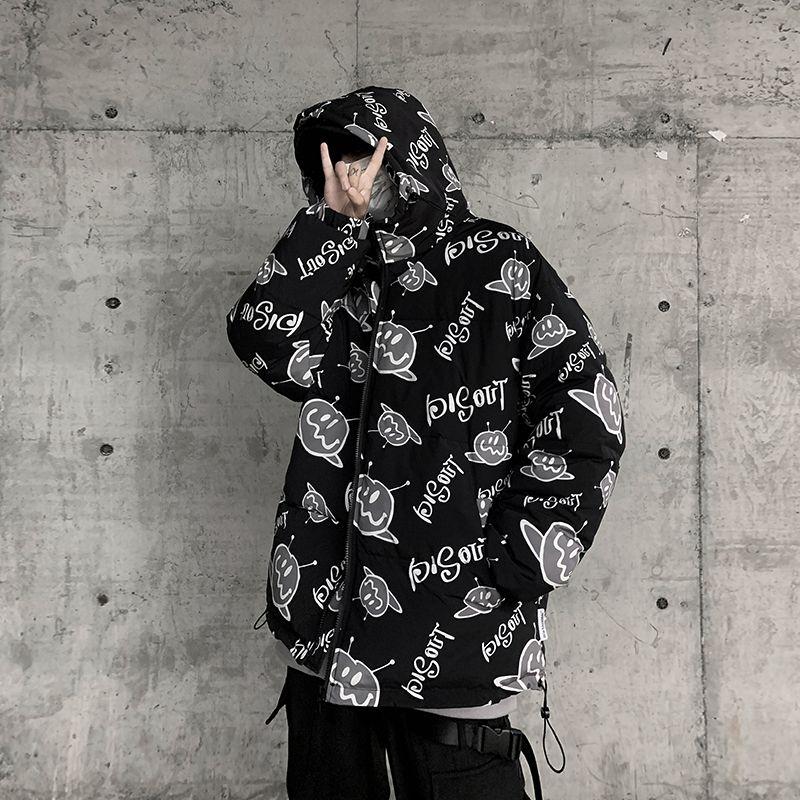 Kış yeni moda baskı kapüşonlu pamuk yastıklı ceket Bay Siyah
