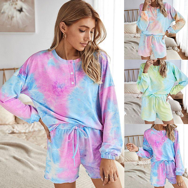 Осень 2020 Tie Два комплекта Тая Dye 2 шт Lounge комплект износа Модная одежда для женщин chandal Mujer